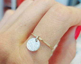 Sterling Silver & Gold Filled Coin Ring Hammered Ring Band Handmade Jewelry For Her
