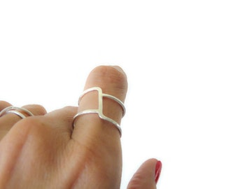 Asymmetrical Ring//Sterling Silver Ring//Index Ring//Modern Rings Jewelry for Her