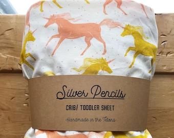 Crib Sheet, Unicorn, Sweet Dreams, Peach, Mustard Yellow, Nursery, Baby Shower, Girl
