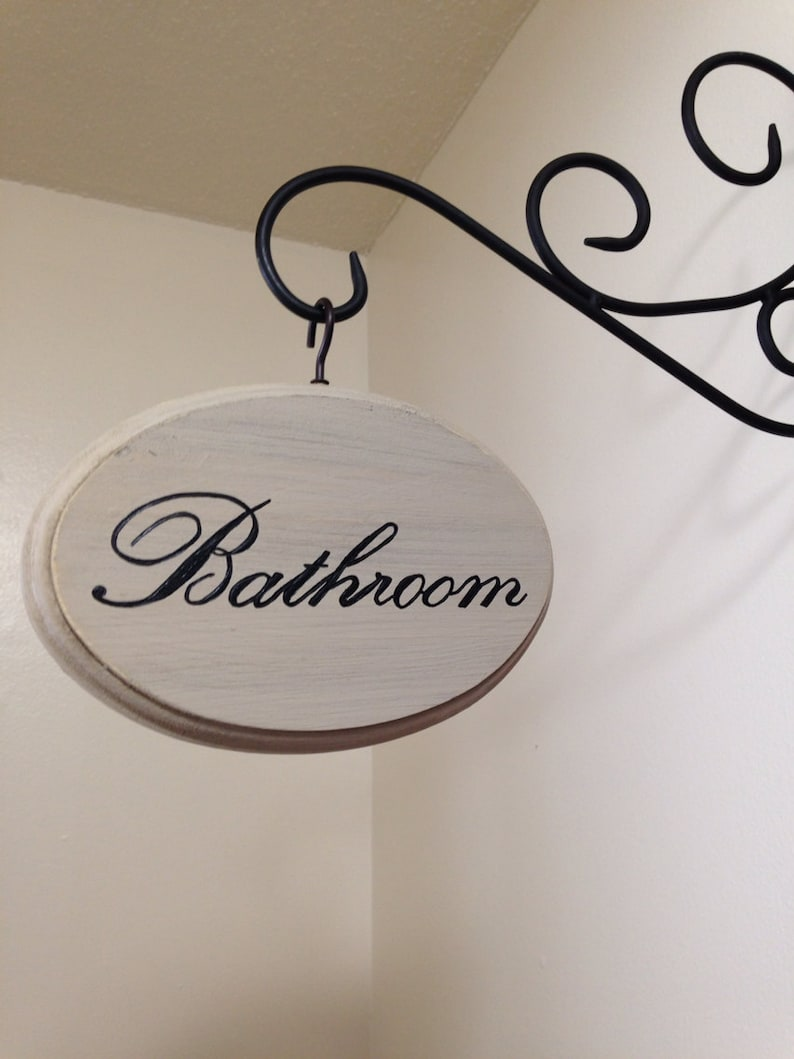 5x7 inch Hand Painted Cream Distressed Bathroom Sign image 0