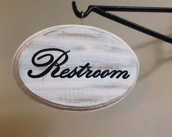 "Adorable Restroom sign (white) (5x7"")"