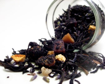 Perfumed Tea Blends- Black Velvet Fig. Phoenix Oolong, Dried Figs, Lavender, Vanilla, Frankincense. 1.75oz. Organic Fair Trade.