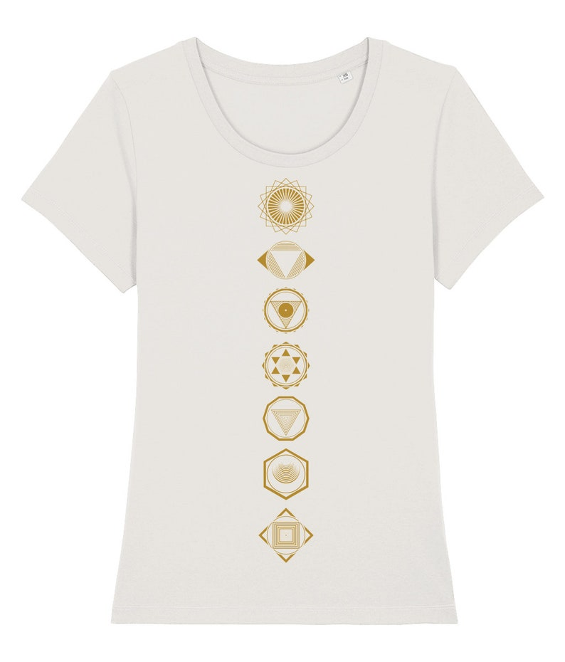 CHAKRAS WOMENS TSHIRT yoga shirt yoga clothing sustainable organic cotton graphic tee sacred geometry geometric yoga gifts for her