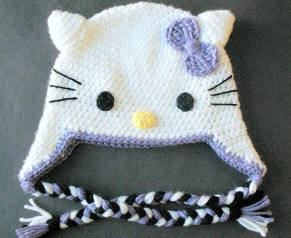 Hello Kitty Hat Hand Crocheted Winter Hat Etsy