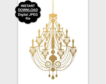 Gold chandelier print chandelier wall art printable etsy gold chandelier poster printable faux gold chandelier print chandelier wall art girl nursery wall decor 5x7 8x10 11x14 instant download aloadofball Images