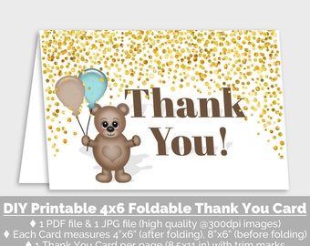Teddy Bear Printable Thank You Card, 4x6 Folded Card, Aqua Brown Gold Thank You Print, Gold Confetti Thank You Printable, Download - PP7