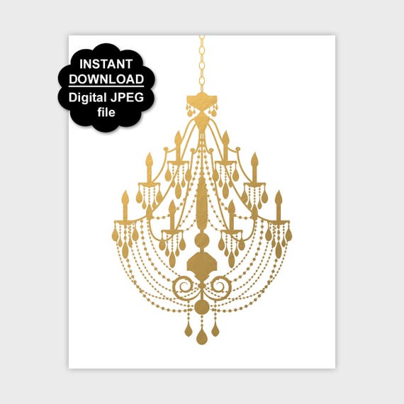 Gold Chandelier Poster Printable Faux Print