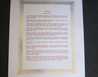Desiderata Letterpress printed/foil stamped broadside poem