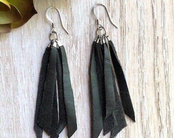 Tassel Earrings, Leather Earrings, Boho Chic, Trendy, Lightweight, Leather Tassels, Scrap Tassels
