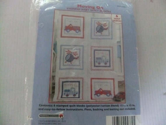 Plaid Bucilla Stamped Baby Quilt Blocks Moving On 6