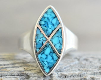 Native American Vintage Turquoise Inlay Ring