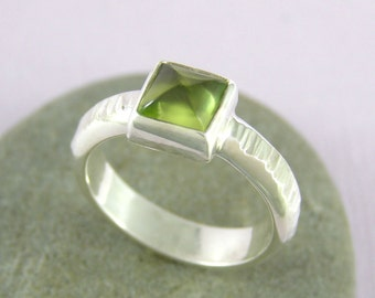 Pyramid Peridot and Hammered Silver Ring , August birthstone