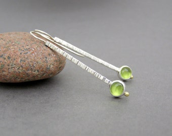 Peridot Hammered Silver Earrings ~ Beautifully Simple Dangle Earrings ~ August Birthstone