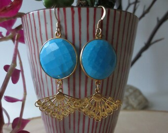 Turquoise earrings, turquoise dangle earrings, turquoise gold earrings, turquoise drop earrings