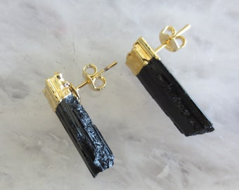 Black Tourmaline stud earrings, raw black Tourmaline studs, Tourmaline gold earrings