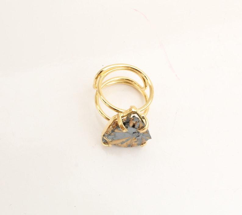 Gold Rutilated Hematite adjustable ring