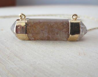Rutilated quartz necklace, gold quartz necklace, quartz necklace