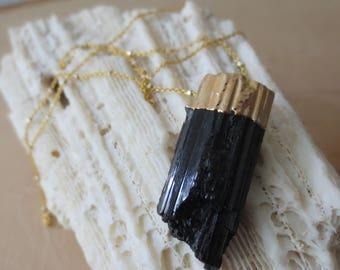 Black Tourmaline gold necklace, raw tourmaline gold necklace, Tourmaline pendant necklace