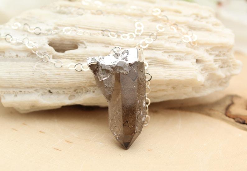 Smoky Quartz crystal sterling silver necklace