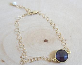 Amethyst bracelet gold filled, purple amethyst bracelet, purple amethyst gold filled bracelet, simple bracelet, gemstone bracelet