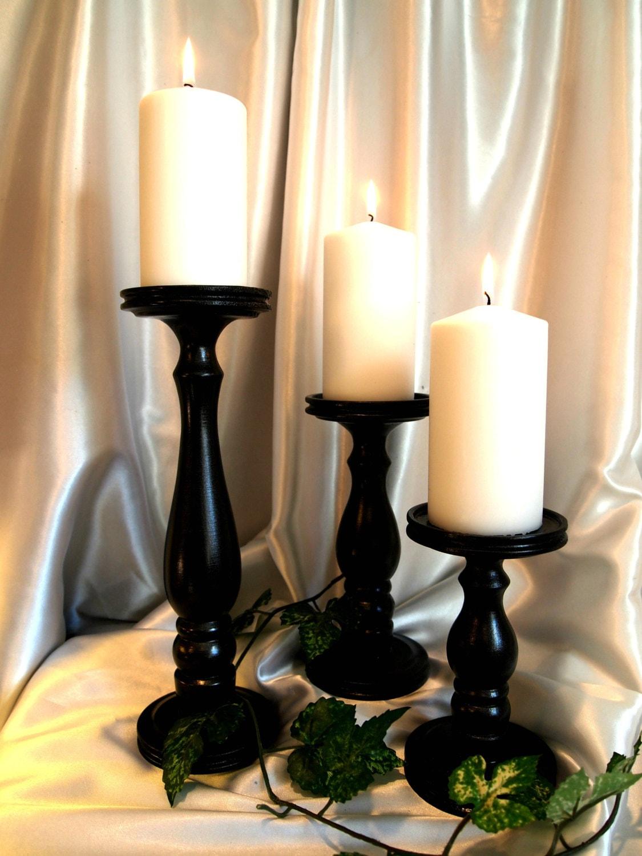 Black Satin Lathe-turned Pillar Candle Holders Set of 3 ...