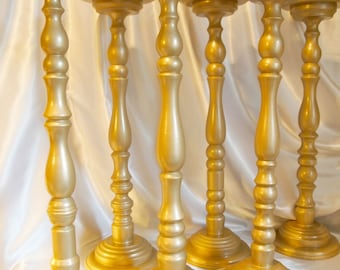 24 Inch Gold Metallic Wooden Wedding Candle Holders or Floral Stand
