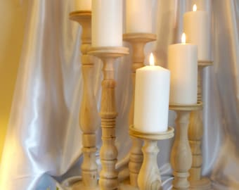Wooden Wedding Candle Holders, Set of 6 Unfinished Poplar 20, 18, 16, 15, 11, and 9-inch