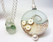 LARGE Artisan Lampwork Necklace Sea Glass Necklace Frosted Silvered Seafoam Wave Necklace Sand Seaglass Ocean Mottled Ivory Beach Necklace
