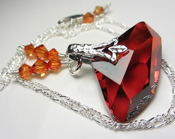 Swarovski Red Magma Crystal Necklace Sterling Silver Red Crystal Pendant Gift for Her