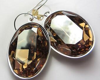 LARGE Swarovski Golden Champagne Earrings Crystal Earrings Dangle Honey Gold Earrings Light Brown Earrings Golden Amber Sunny Earrings