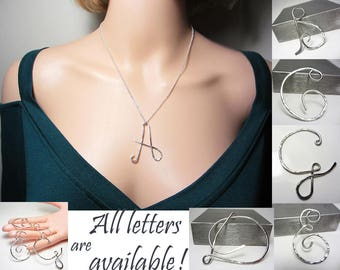 925 Sterling Silver Initial Necklace Name Pendant Letter Necklace Large Letter Pendant Monogram Necklace Personalized Unusual Gift for Her