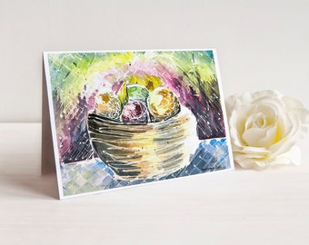 Watercolor Still Life Housewarming Card | Kitchen Art | Abstract Art | Fruit Bowl Painting | Watercolour Art Notecard | Welcome Moving Card