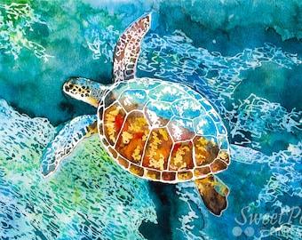 Sea Turtle Wall Art, Hawaiian Sea Turtle Watercolor Painting, Coastal Decor, Tropical Art, Beach Art Print, Fine Art Giclee Print