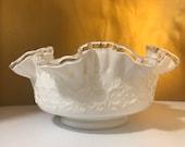 Fenton Silvercrest Spanish Lace Ruffled Edge bowl Vintage