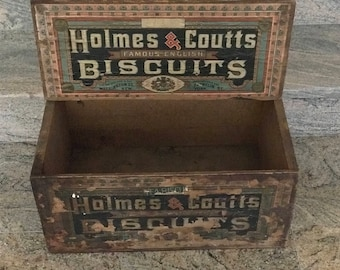 Antique wood Holmes & Coutts Biscuits Crate  Washington Street/Franklin St., New York, NY 1920s