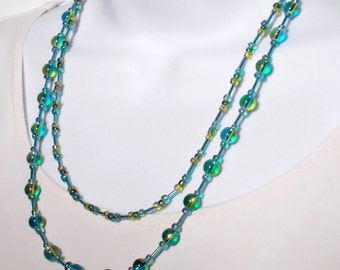 Bead necklace Bead jewelry Blue necklace 2 strand necklace Green necklace Glass bead necklace 20 inch Blue green bead Sterling silver clasp