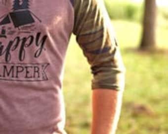 Outdoor Tshirt - Happy Camper Shirt - Happy Camper - Camping Shirt - Mountain Shirt - Hiking Shirt - Mountain Shirts - Camping Shirts - Gift