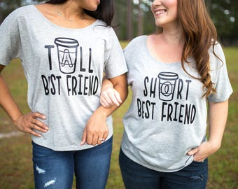 6395477318a Best Friend Gift - Best Friend - Best Friend Shirts - Matching Tees -  Meilleur Ami Tshirt - Coffee - Tall Best Friend - Short Best Friend