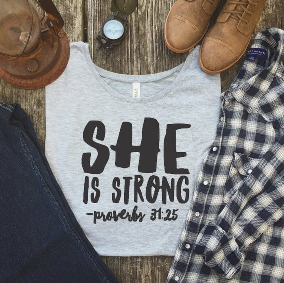 Running Shirt She Is Strong Strength And Dignity