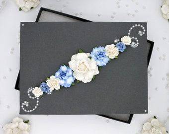 Floral Gift Box Handmade Box Wedding Gift Box Wedding Favor Box Jewelry Gift Box Birthday Gift Box Small Gift Box Bridesmaid Gift Box - Blue