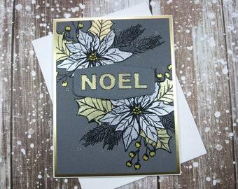 Metallic Poinsettia Noel Card
