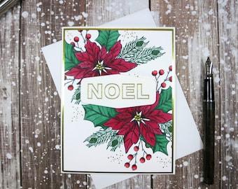 Poinsettia Noel Card