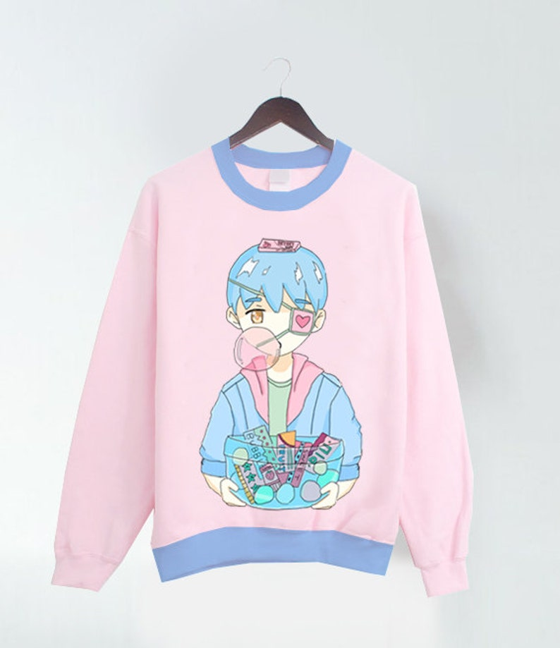 1e6957ab Bubble Gum Boy Pink Pastel T-shirt/Sweater with blue trims   Etsy