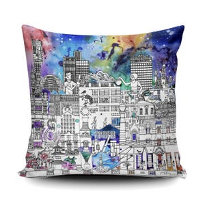 Manchester Skyline Cushion Manchester Cityscape Pillow Etsy