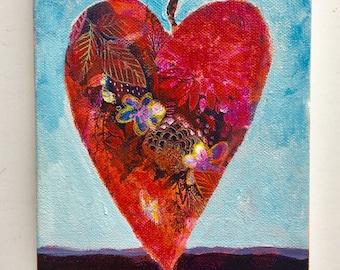 Coeur Rouge Collage Et Peinture 8 X 8 Art Mural Etsy