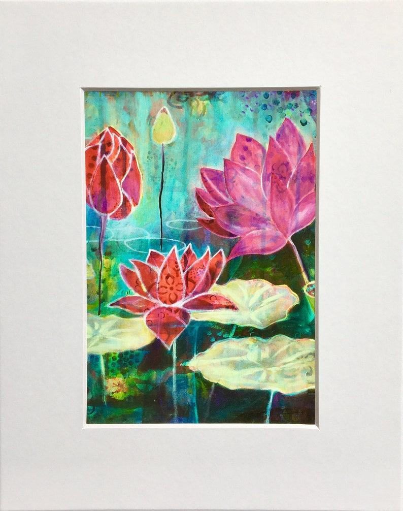 c8f3d7ba5 Lotus pond giclee art print MATTED 8 x 10 wall art | Etsy