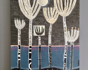 "Moonlight and conversation, original mixed media collage,11"" x14""/wall art/white flowers/modern abstract/garden/blue gray pink/fine art"
