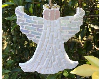Handmade Mosaic Angel Christmas Tree Decoration - White, Pearl, Gold - 15cm