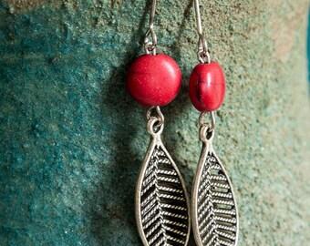 Metal Leaf Earrings, free shipping