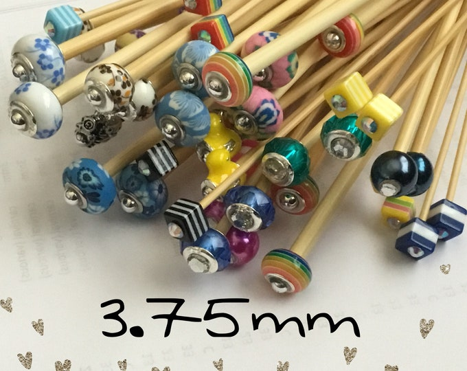 Size 3.75mm (us size 5) 1 Pair Beaded Bamboo Knitting Needles, Choose Bead